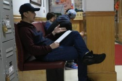 Jing Shan, actor of Chong Gongdao, going over his script at the rehearsal room in Flushing. Oct. 2017