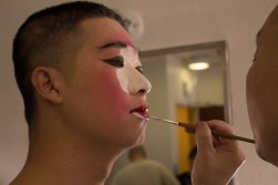 Bin Ma, actor of doorman, putting on make-up for Su San's Story in the dress room at Schimmel Center of Pace University. Nov.2017