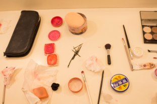 Cosmetics used for the make up of performers in the dressing room at the Schimmel Center of Pace Univeristy. Nov.2017