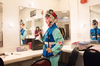 Yan Liang, actress of Chun Jin, posing in the dress room befor the performance. Nov. 2017