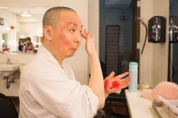 Jing Shan, actor of Chong Gongdao, putting on make-up in the dressroom. Nov. 2017