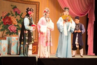 From left to right, Madam, Su San and Wang Jinlong performing the first encounter between Wang Jinlong and Su San at the brothel in the story. Nov. 2017